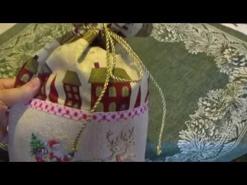 Вышивка крестом. Новогодние мешочки для подарков.