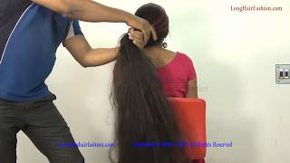 Long Hair Sensual Big Bun Open & Thick Knee Length Hair Play