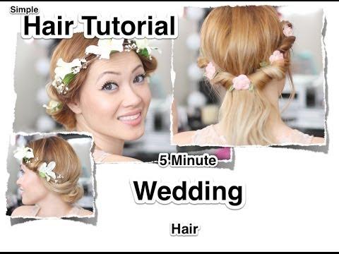 5 Minute Hair Tutorial Wedding And Fun Flower Crown YouTube