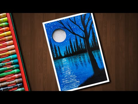 Easy Night Pond Scenery for beginners with Oil Pastels - step by step