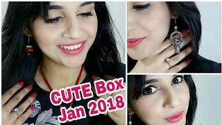 Cute Box Jan 2018 | Unboxing &   Try-On-Review | Giveaway Open - Instagram |