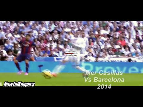Iker Casillas - 2 amazing saves Vs FC Barcelona 2014