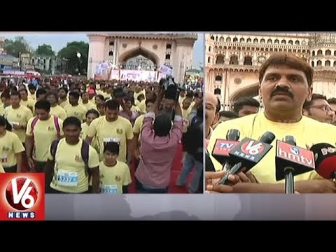 Mayor Bonthu Rammohan Launches 5K And 10K Run | Charminar Pedestrian Project | V6 News