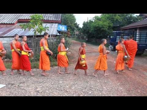 Buddhist Alms Giving Ceremony at Vang Vieng, Laos