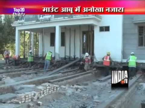 3 storeyed building of 900 tonnes shifted from highway in Mount Abu