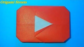 Как сделать кнопку плей Ютуба. Оригами логотип Ютуба