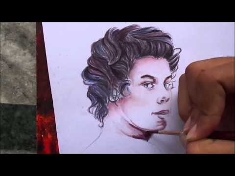 Harry Styles Watercolor Drawing