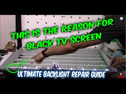 How to fix LED LCD TV black screen no backlight. TV disassemble. testing LEDs. ordering part. repair