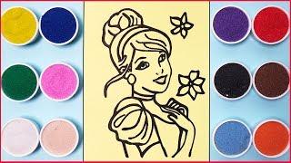 Đồ chơi tô màu tranh cát công chúa lọ lem - Colored sand painting cinderella toys (Chim Xinh)