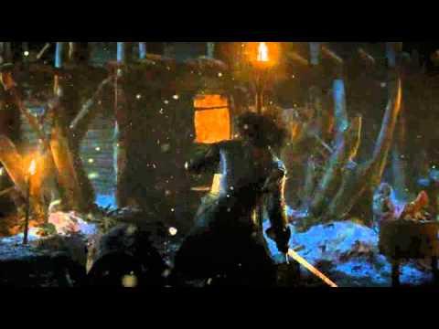 Bran wargs into Hodor and kills Locke -(GoT S4E5)