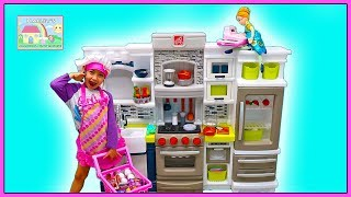 Hailey & Anna Pretend Play Cooking with Giant Step2 Kitchen Toy, Food Toys & Cash Register