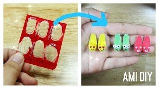 DIY Miniature Doll Slipper / Đồ chơi trẻ em làm đôi dép mang trong nhà cho búp bê / Ami DIY