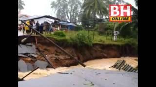 Jalan pantai Kampung Tanjung, Batu Rakit, Setiu runtuh akibat hujan lebat
