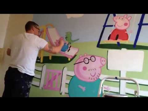 Peppa Pig playground TIME LAPSE mural by dress wonder walls !!!
