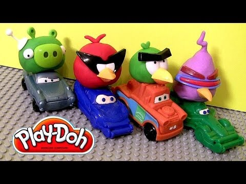 Play Doh Cars Angry Birds Space Mater & Lightning McQueen as Red Bird and Bad Piggies Disney Pixar Music Videos