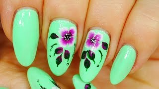 Nail Art. Neon Green ! Magenta Flowers !!!