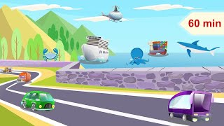 Happy and Relaxing Music for Children | Beach Road, Cars, Sea Animals | Lullaby for Kids & Babies