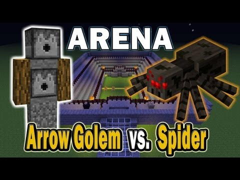 Minecraft Arena Battle Arrow Golem vs Spider