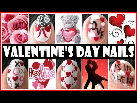 Valentine's Day Nail Art Designs - Love Is In The Air Nail Tutorial Freehand Step By Step Vday video