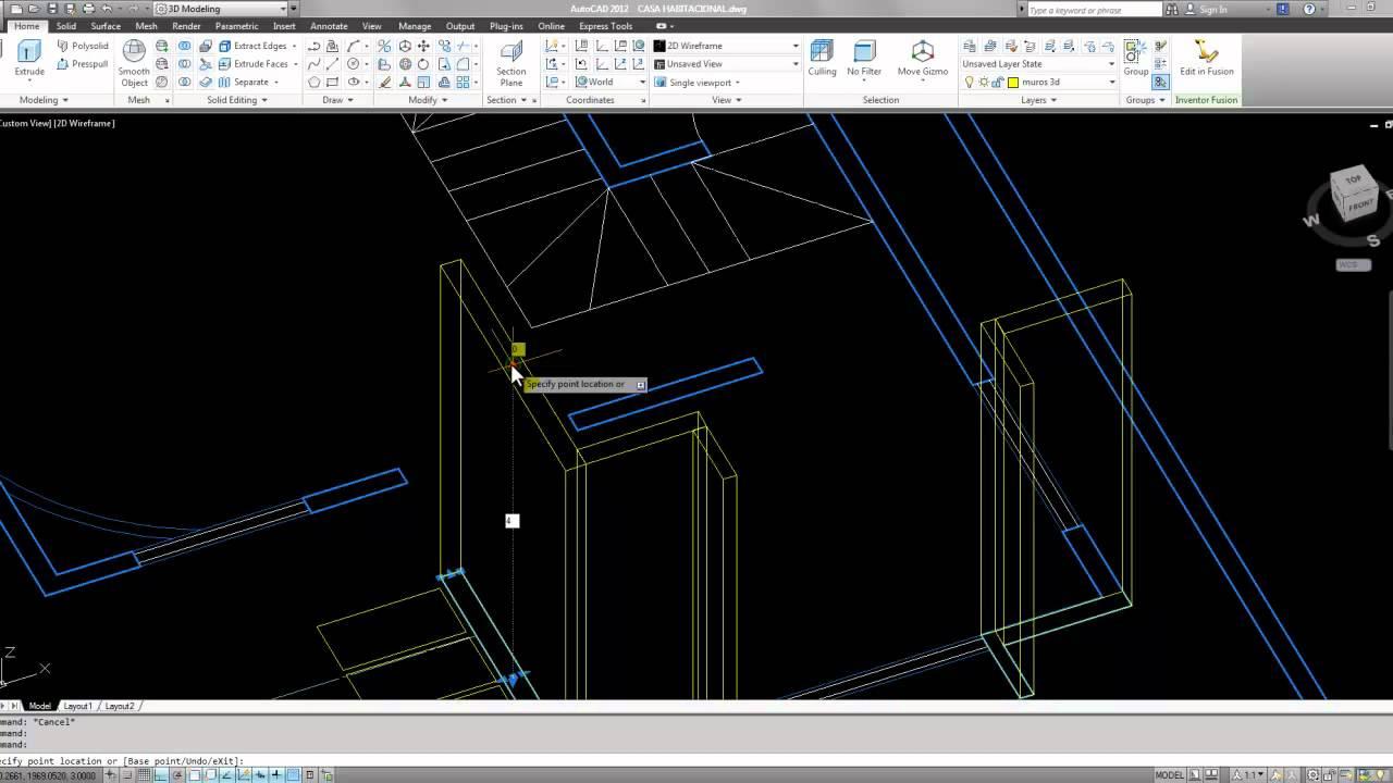Tutorial autocad 3d 2012 espa ol modelar una casa parte 1 for Modelar habitacion 3d max