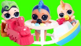 LOL Surprise Babies Morning Routine for School Bus with Fake Fuzzy Pets Series 5