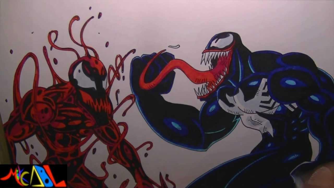 Dibujando a: Venom Vs Carnage - YouTube