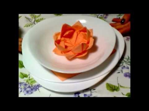 Tutorial Tovagliolo Fior di Loto ♥ Lotus Flower - YouTube