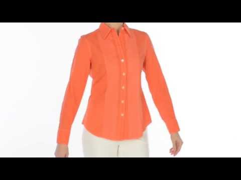 Paperwhite Cotton Pintuck Shirt - Long Sleeve (For Women)