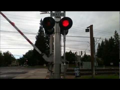 Railroad crossings at Horn road light rail crossing