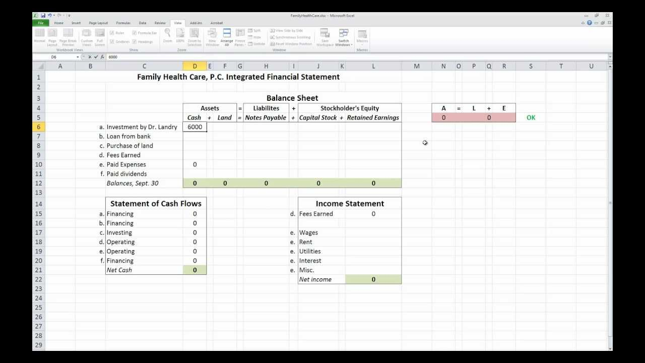 Accounting 101 Integrated Financial Statements In Excel