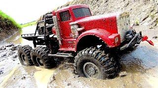 "POWERFUL 6x6 TRUCK in MUDDY SWAMP - OFF ROAD AXLE REPAiR JOB - ""BiG RED"" - RC ADVENTURES"