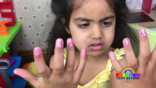 Baby Sisters Pretend Play with Color Nail Polish Kids Nail Art Toys Rainbow ToysReview