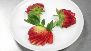How to Make a Fan out of a Strawberry for Cake Decorating : Cooking With Strawberries