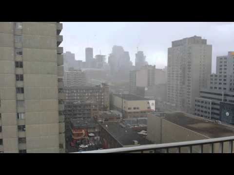 OCTOBER 18, Snowing in Downtown Montreal
