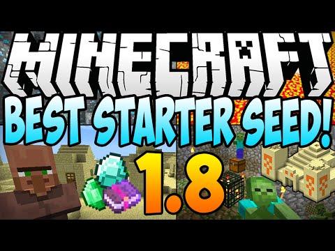 Minecraft 1.8 Seeds BEST STARTER SEED Diamonds Dungeon Village AT SPAWN Minecraft 1.8 2014
