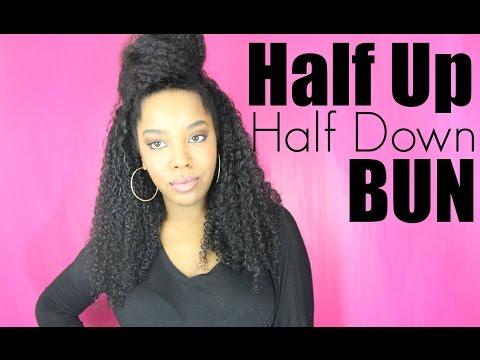 Half Bun Half Down Natural Hair ▶ Natural Hair Style Half