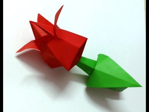 Origami paper rose bud tutorial best and easy youtube for How to make a paper rose origami