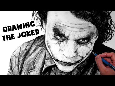 Evil joker drawings in pencil