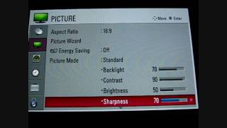 LG 37LH20 Picture Wizard and Menu