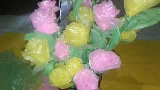 Membuat bunga dari plastik kresek