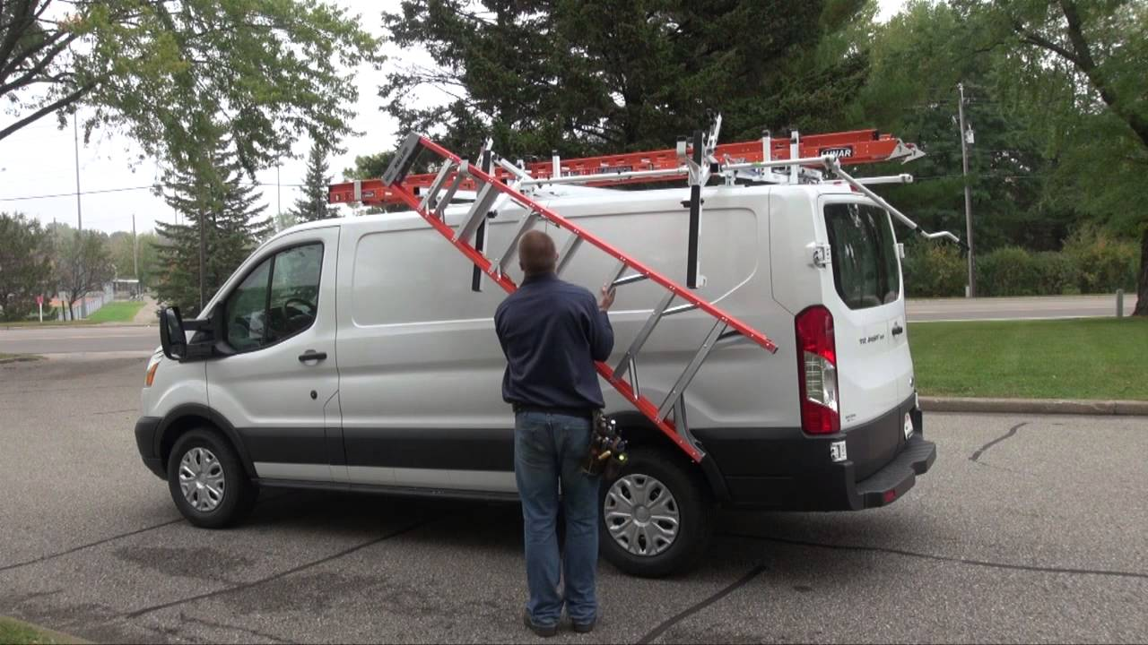 Roof Rack Ladder >> Ford Transit Low Roof with Prime Design ErgoRack - YouTube
