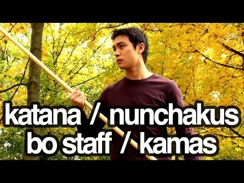 Nunchakus, katana, bo staff / stick, kamas - Martial arts weapons freestyle training Image 1