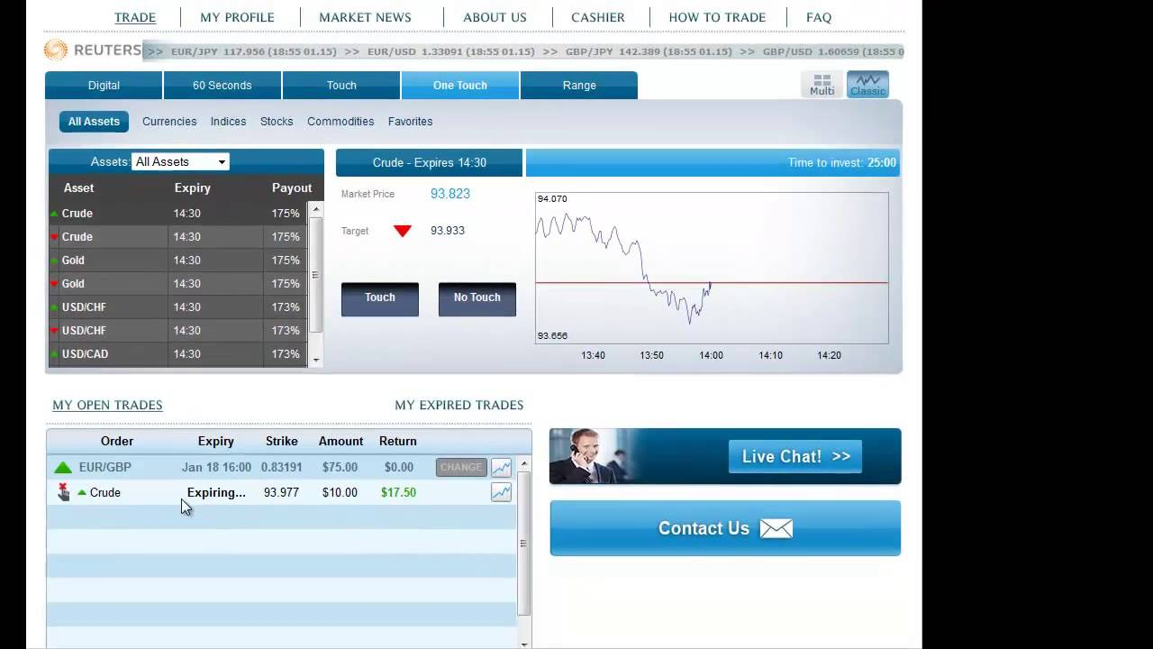 No touch binary option broker