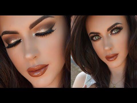 Chocolate Glitter Glam Makeup