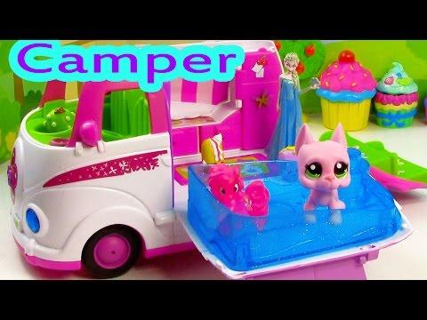 LPS Pinkie Pie Disney Frozen Queen Elsa RV CAMPER Jacuzzi Pool Water Play Playset PinyPon Review