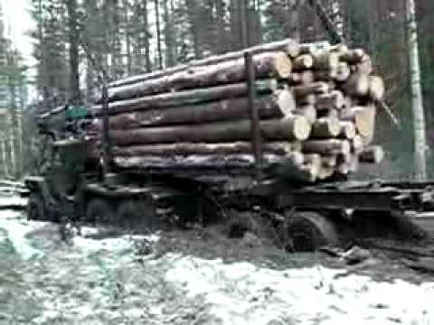 Russian log truck mudding Video