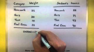 Statistics - Find the weighted mean
