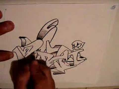 drawing graffiti wildstyle3 Video