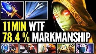 11 mins Has 78% chance ONE SHOT Creeps Drow Ranger - Aghanim's WORK on Marksmanship Dota 2