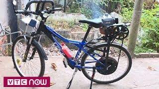 Độc lạ cách biến xe đạp thành xe máy ở Vĩnh Long
